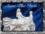 Save the Date Card Design of a Groom helping a bride off a horse buggy carriage