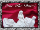 Save the Date Card Design of a Groom helping a bride off a horse buggy carriage Red Satin Background