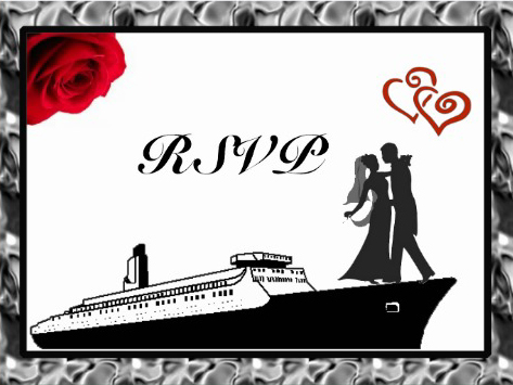 RSVP Wedding cruise card cover red rose design
