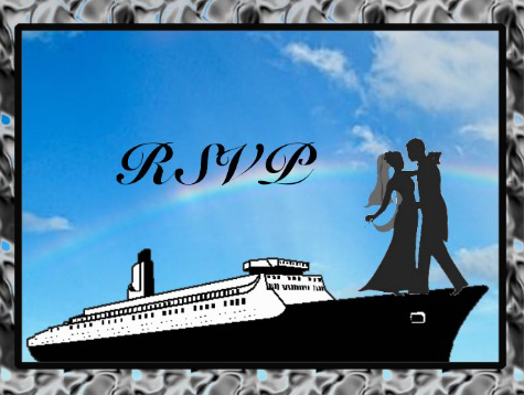 RSVP Wedding cruise card cover blue with rainbow design