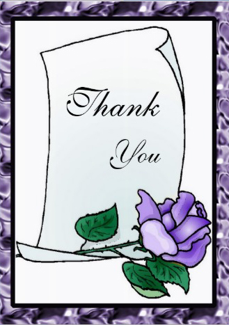 Wedding everday thank you card cover deep purple rose design