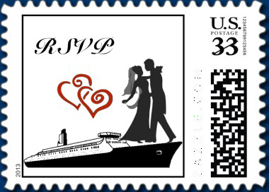 Custom postage stamp for Wedding RSVP Invitation cruise card red double heart design
