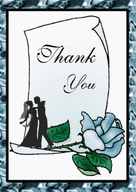 Wedding thank you card cover blue rose design