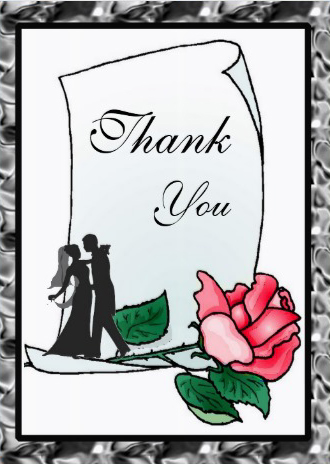 Wedding thank you card cover reddish pink rose design