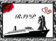 Front of RSVP Wedding Cruise Card Red design