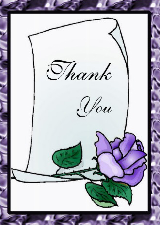 Everyday Thank you card purple rose cover design