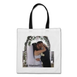 Tote bag - picture of water cruise card design with a note stating Just Married!!!